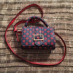 Merona Blue/Red Print Faux Leather Mini Satchel
